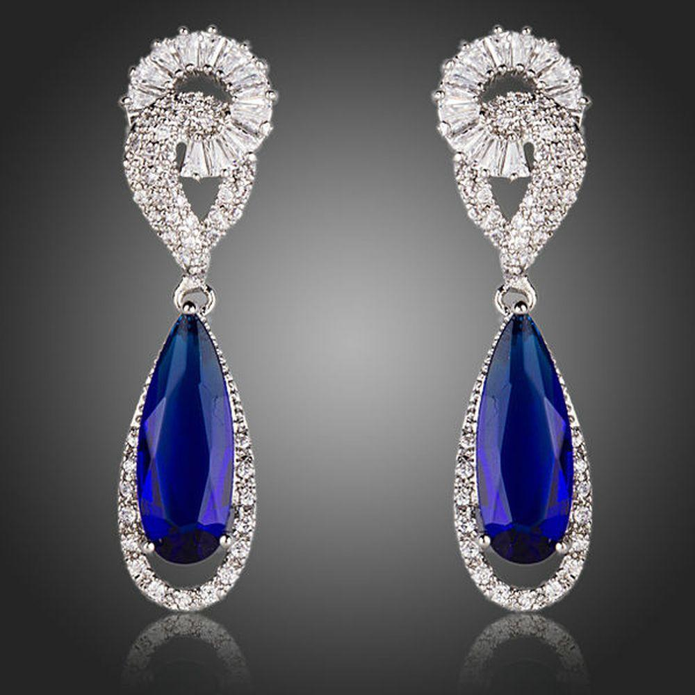 Royal Blue Cubic Zirconia Drop Earrings - KHAISTA Fashion Jewellery