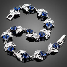Load image into Gallery viewer, Royal Blue Hearts with Petals Cubic Zirconia Bracelet - KHAISTA Fashion Jewellery