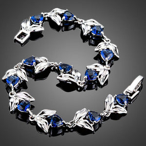 Royal Blue Hearts with Petals Cubic Zirconia Bracelet - KHAISTA Fashion Jewellery