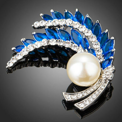 Royal Blue Leaves Clear Rhinestone Cubic Zirconia Stimulated Pearl Fashion Brooch - KHAISTA Fashion Jewellery