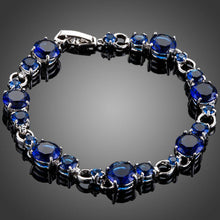 Load image into Gallery viewer, Royal Blue Toggle Clasp Cubic Zirconia Bracelet - KHAISTA Fashion Jewellery