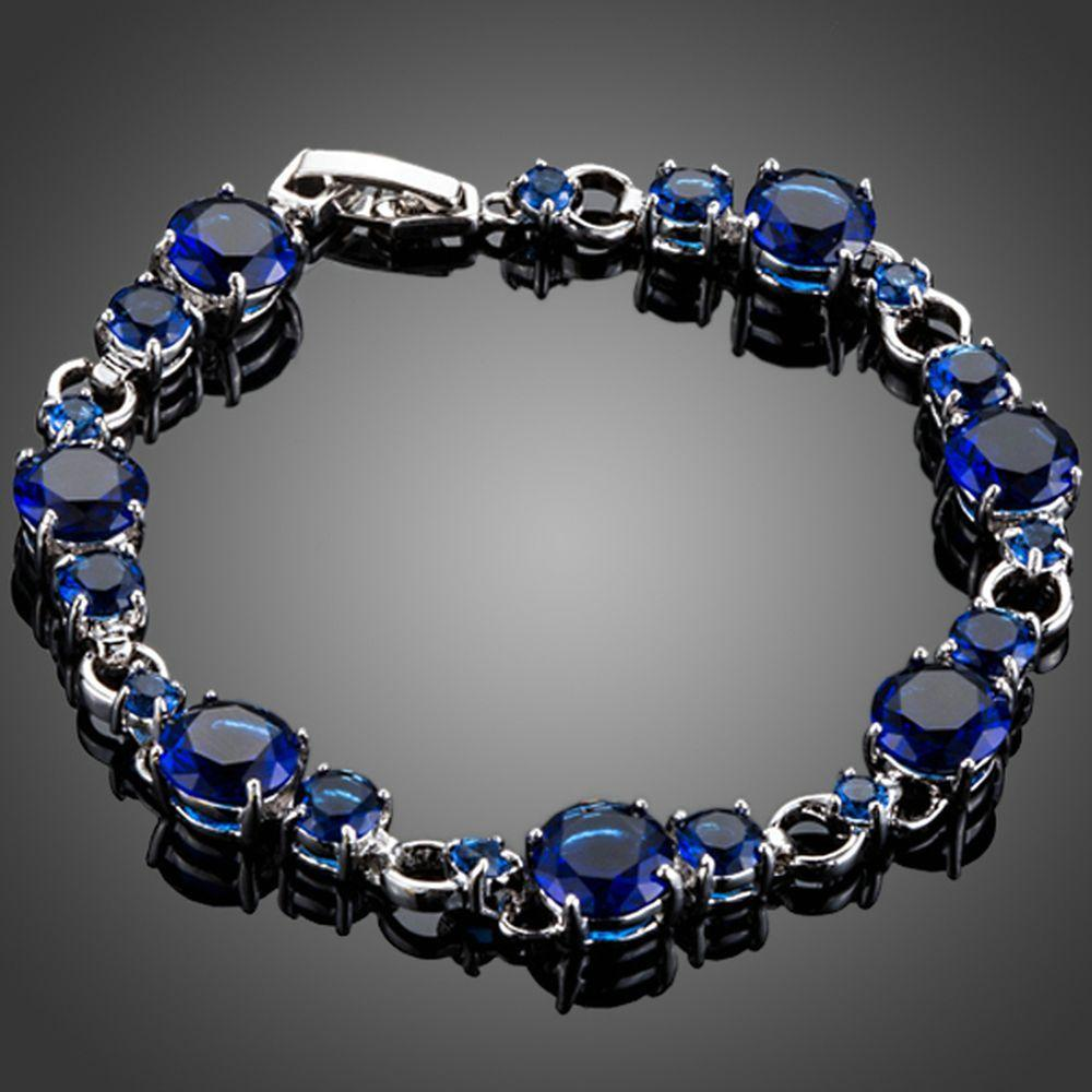 Royal Blue Toggle Clasp Cubic Zirconia Bracelet - KHAISTA Fashion Jewellery