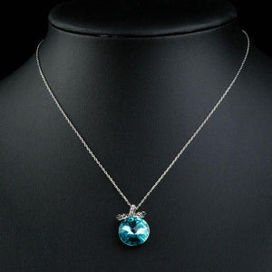Sea Blue Austrian Crystal Necklace KPN0233 - KHAISTA Fashion Jewellery