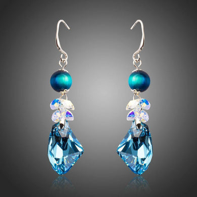 Sea Blue Crystal Drop Earrings - KHAISTA Fashion Jewellery