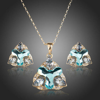Sea Blue Flower Stud Earrings and Pendant Necklace Set - KHAISTA Fashion Jewellery