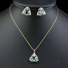 Load image into Gallery viewer, Sea Blue Flower Stud Earrings and Pendant Necklace Set - KHAISTA Fashion Jewellery