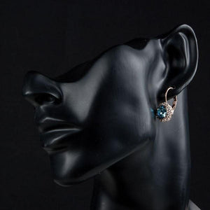 Sea Blue Round Crystal Earrings - KHAISTA Fashion Jewellery