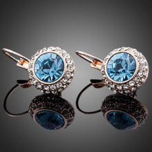 Load image into Gallery viewer, Sea Blue Round Crystal Earrings - KHAISTA Fashion Jewellery