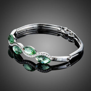 Sea Wave Crystal Bangle Bracelet - KHAISTA Fashion Jewellery