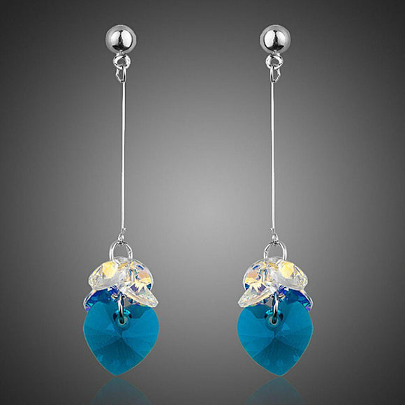 SeaBlue Rhinestone Heart Drop Earrings - KHAISTA Fashion Jewellery