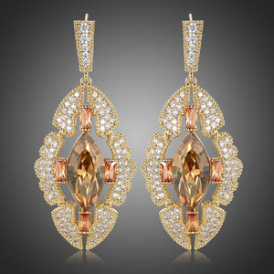 Shield Austrian Crystals Dangle Earrings -KPE0384 - KHAISTA Fashion Jewellery