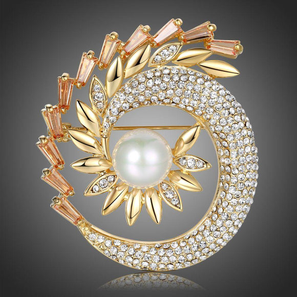 Shining Pearl Sunflower Brooch - KHAISTA Fashion Jewellery