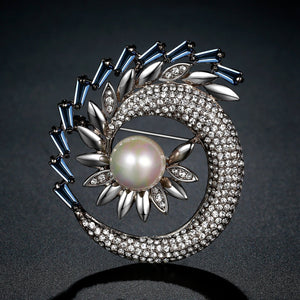 Shining Rhinestone Pearl Sunflower Large Brooch - KHAISTA Fashion Jewellery