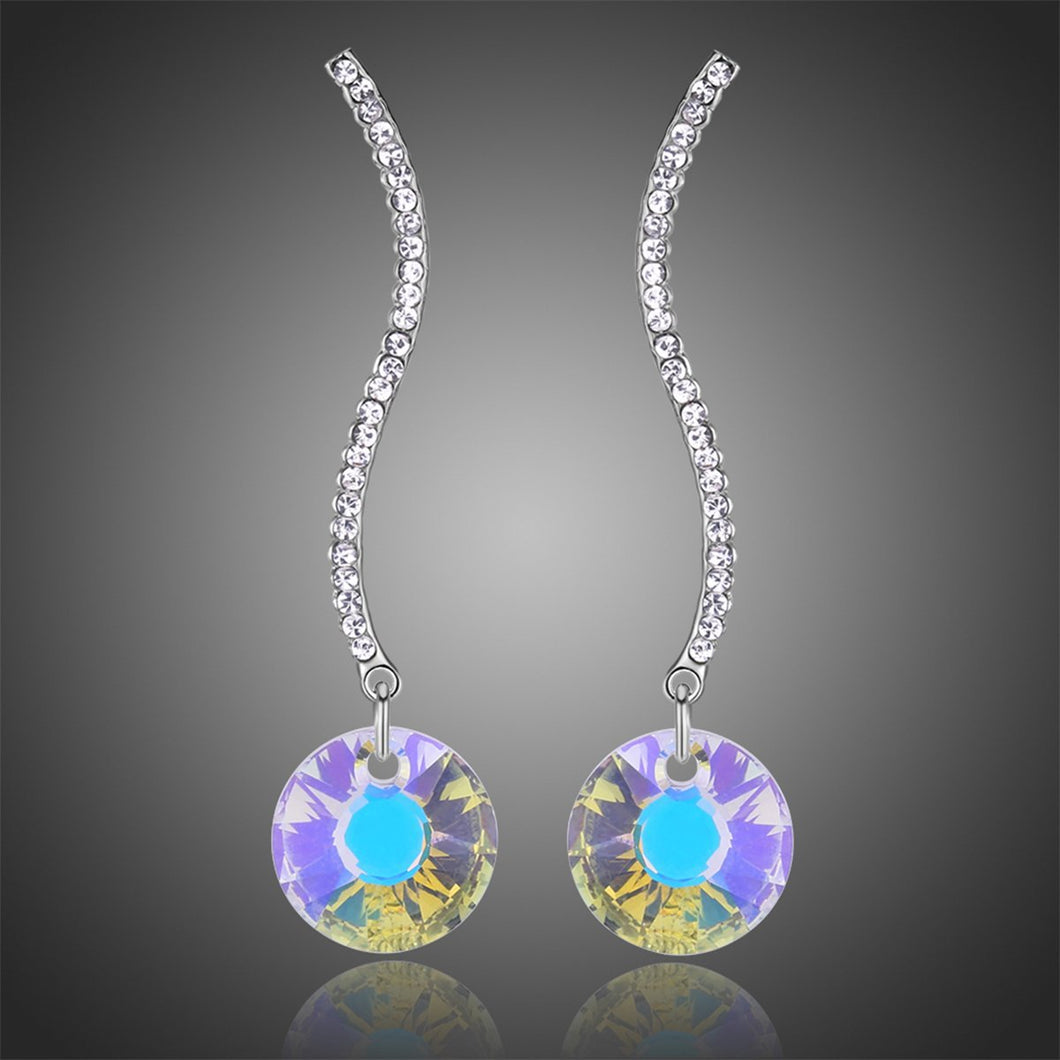 Shiny Arc Long Dangle Drop Earrings -KPE0331 - KHAISTA Fashion Jewellery