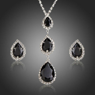 Shiny Black Water drop Stud Earrings Necklace Set - KHAISTA Fashion Jewellery