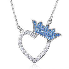 Load image into Gallery viewer, Silver Heart Crown Shaped Cubic Zirconia Necklace - KHAISTA Fashion Jewellery