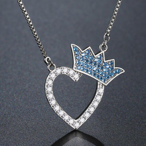 Silver Heart Crown Shaped Cubic Zirconia Necklace - KHAISTA Fashion Jewellery