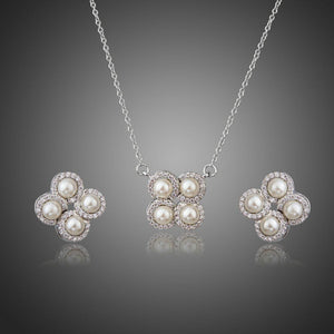 Silver Tone Simulated Pearls with Stellux Austrian Clover Stud Earrings and Necklace Set - KHAISTA Fashion Jewellery