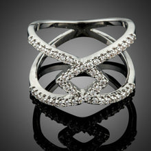 Load image into Gallery viewer, Silver V Letter Intersect Ring - KHAISTA Fashion Jewellery