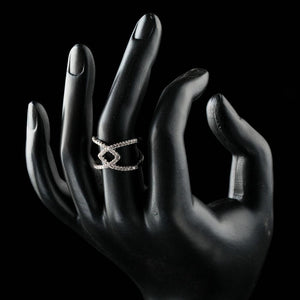 Silver V Letter Intersect Ring - KHAISTA Fashion Jewellery