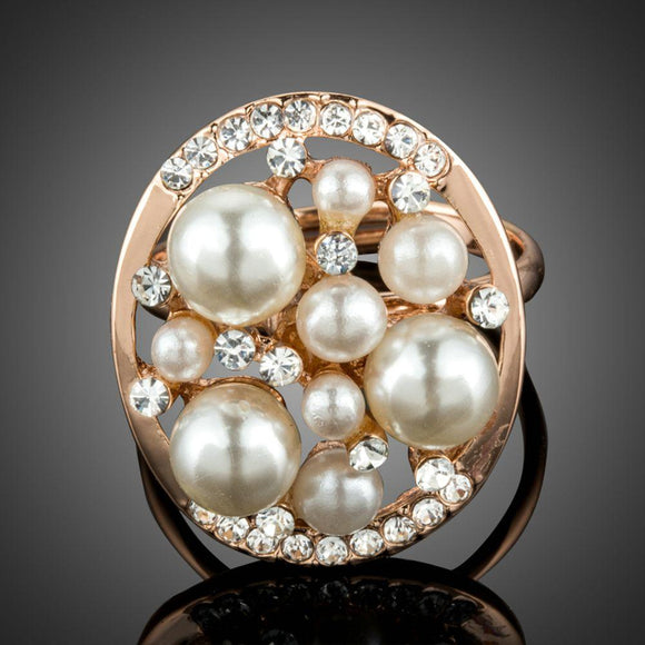 Simulated Pearl Finger Ring With Clear Crystals Cut Stone - KHAISTA Fashion Jewellery