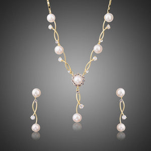 Simulated Pearl Vines Set with Austrian Crystal Vintage Earrings and Necklace Set - KHAISTA Fashion Jewellery