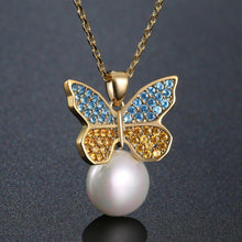 Load image into Gallery viewer, Sitting Golden Butterfly On Snow Pearl Necklace Pendant - KHAISTA Fashion Jewellery