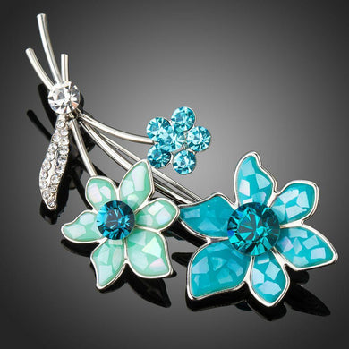 Sky Blue Crystal Flower Brooch Pin - KHAISTA Fashion Jewellery