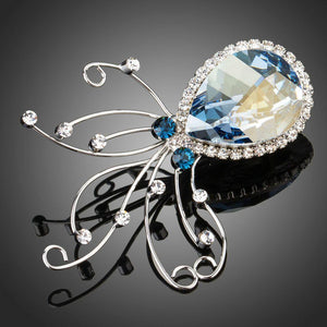 Sky Blue Octopus Brooch Pin - KHAISTA Fashion Jewellery