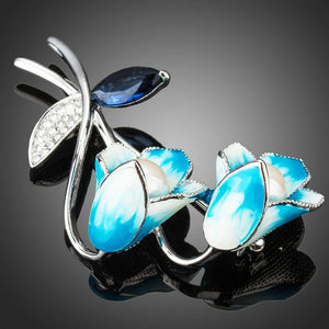 Sky Blue Oil Paint Flower Pin Brooch - KHAISTA Fashion Jewellery