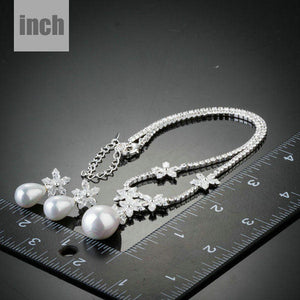 Snow White Pearl with Petals Earrings and Pendant Necklace Set - KHAISTA Fashion Jewellery