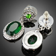 Load image into Gallery viewer, Space Green Oval Cubic Zirconia Drop Earrings - KHAISTA Fashion Jewellery