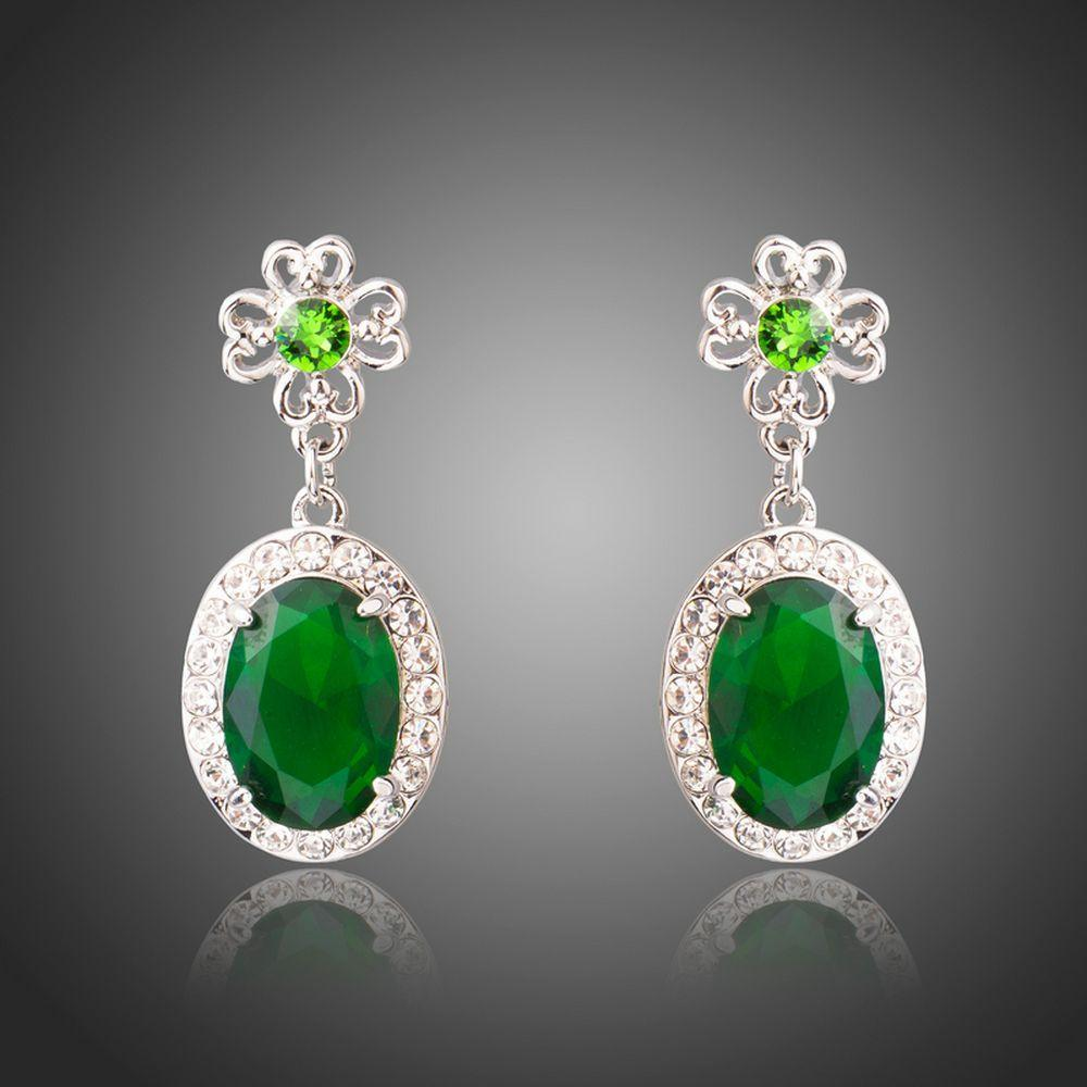Space Green Oval Cubic Zirconia Drop Earrings - KHAISTA Fashion Jewellery