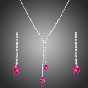 Sparkling Red Austrian Crystals Jewelry Set - KHAISTA Fashion Jewellery