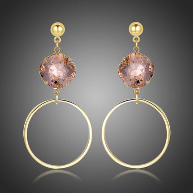Square Pink Austrian Crystals Circle Drop Earrings -KFJE0413 - KHAISTA1