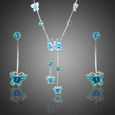 Stellux Austrian Crystal Butterfly Oil Painting Pattern Drop Earrings and Necklace Set - KHAISTA Fashion Jewellery