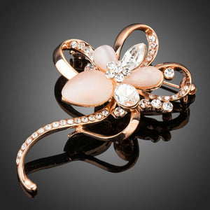 Stone with Clear Austrian Crystal Flower Shape Brooch - KHAISTA Fashion Jewellery
