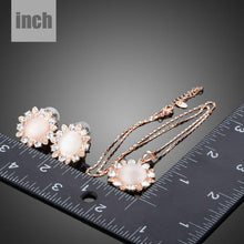 Load image into Gallery viewer, Sun Opal Stud Earrings and Pendant Necklace Set - KHAISTA Fashion Jewellery