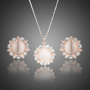 Sun Opal Stud Earrings and Pendant Necklace Set - KHAISTA Fashion Jewellery