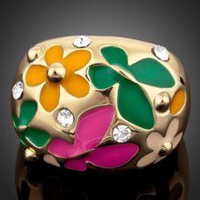 Load image into Gallery viewer, SunFlower and Butterfly Oil Painting Ring - KHAISTA Fashion Jewellery