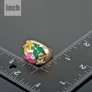 SunFlower and Butterfly Oil Painting Ring - KHAISTA Fashion Jewellery