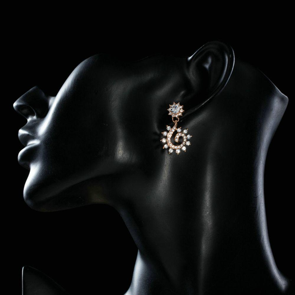 Sunflower Design Crystal Drop Earrings - KHAISTA Fashion Jewellery