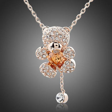 Teddy Bear Champagne Necklace KPN0093 - KHAISTA Fashion Jewellery