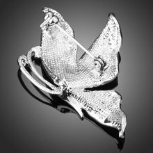 Load image into Gallery viewer, Tiny Rhinestone Paved Artistic White Gold Color Leaf Brooch - KHAISTA Fashion Jewellery