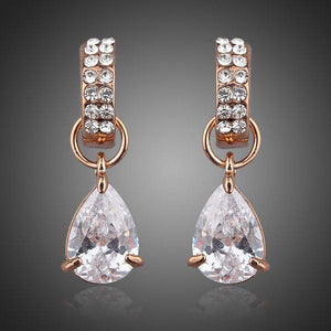 Transparent Cubic Zirconia Raindrop Earrings - KHAISTA Fashion Jewellery
