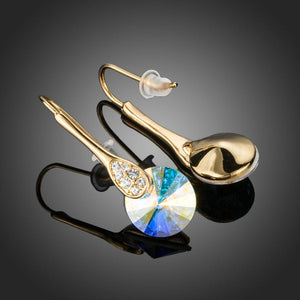 Trendy Gold Plated Round Crystal Drop Earrings - KHAISTA Fashion Jewellery