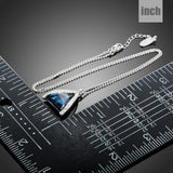 Triangle Cut Blue Austrian Crystals Stone Pendant Necklace - KHAISTA Fashion Jewellery