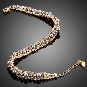 Two Rows Micro CZ Stones With Beads Bracelet - KHAISTA Fashion Jewellery