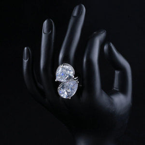 Unique Clear Cubic Zirconia Water Drop Ring - KHAISTA Fashion Jewellery