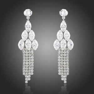 Water Drop Clear Cubic Zirconia Earrings -KPE0099 - KHAISTA Fashion Jewellery
